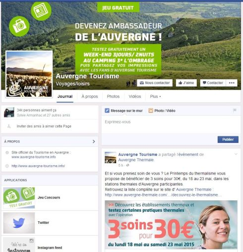 Page Facebook-Auvergne Tourisme